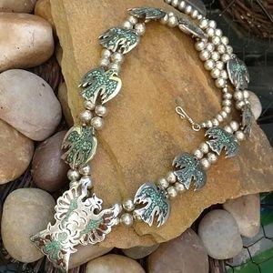Vintage Thunderbird squash sterling necklace